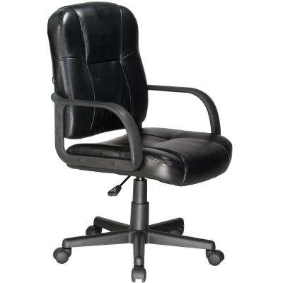 Black Massage Mid-Back Leather Chair