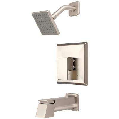 Mod 1-Handle Tub and Shower Trim Kit in Brushed Nickel with 4 in. Square Showerhead (Valve Not Included)