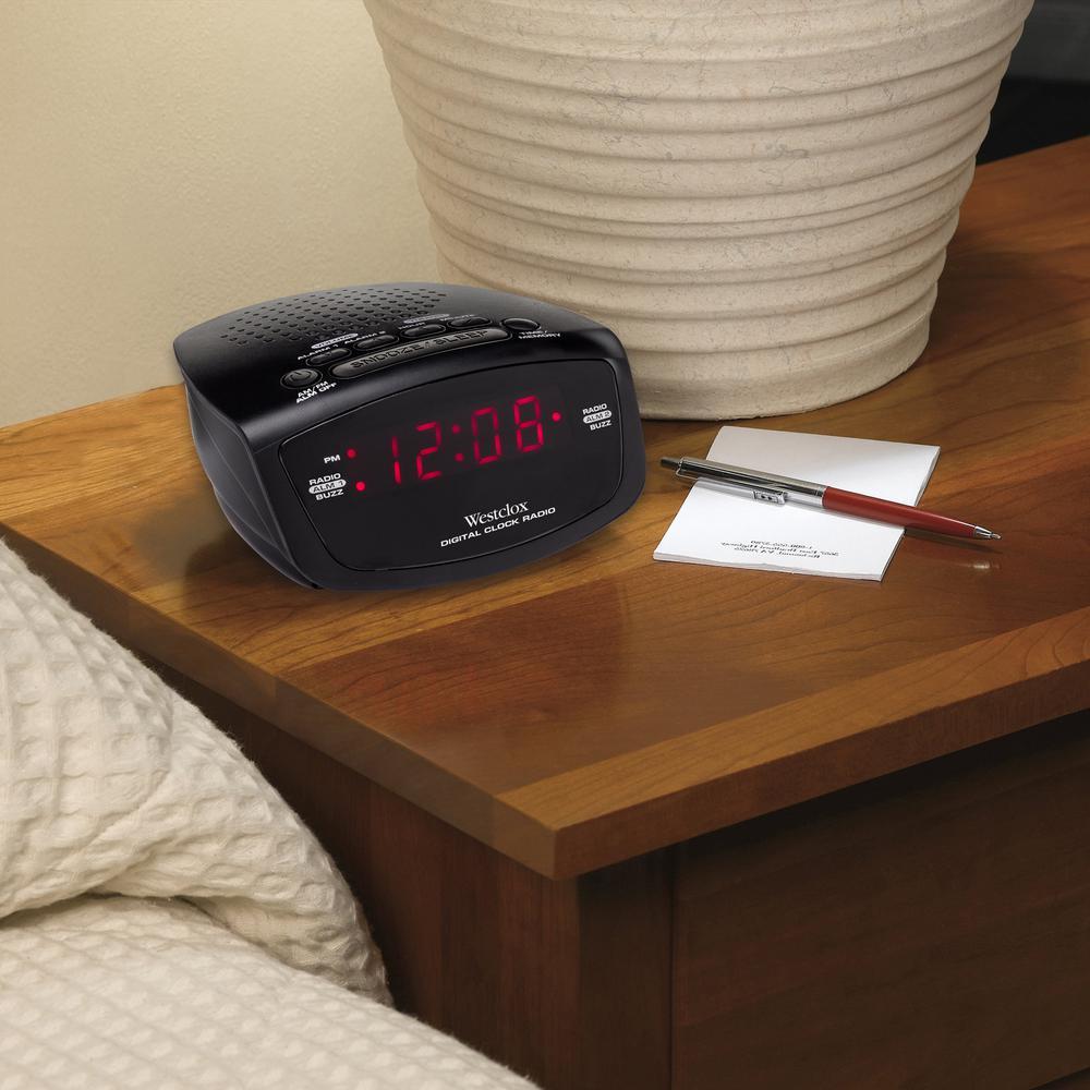 Westclox AM/FM Dual Alarm Clock Radio, Black