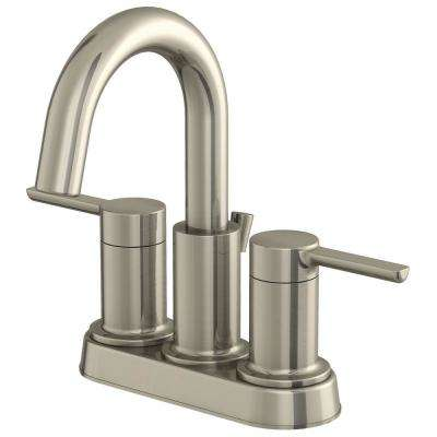 Metro Collection 4 in. Centerset 2-Handle Bathroom Faucet with 50/50 Pop-Up in Brushed Nickel
