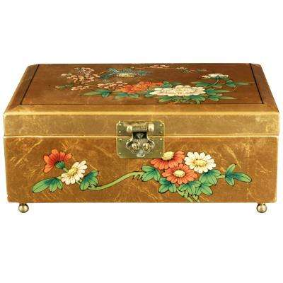 Oriental Furniture Gold Clementina Lacquer Jewelry Box