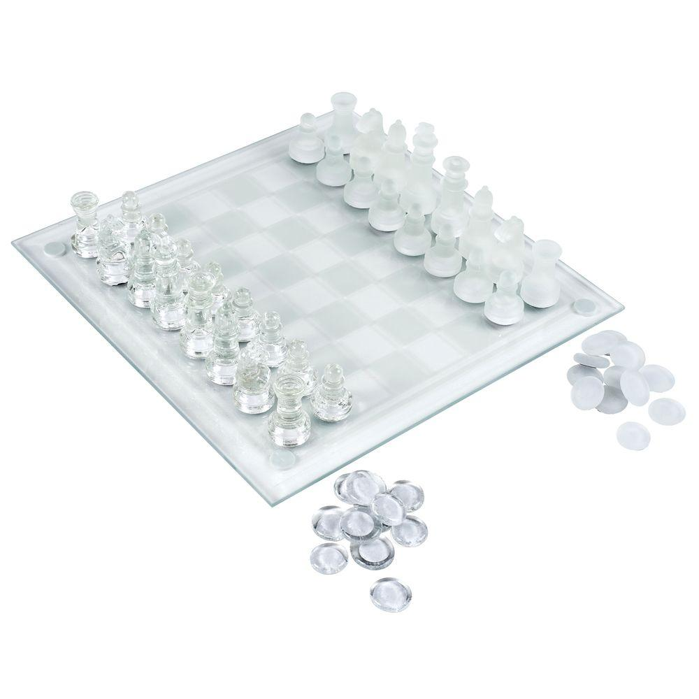 Glass Table Top Chess/Checker Board
