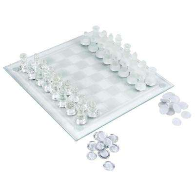 9.75 in. Glass Table Top Chess/Checker Board