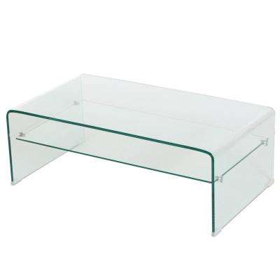 Clear Tempered Glass Rectangular Coffee Table with Shelf