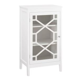 Small White Single Door Wooden Cabinet with 3-Storage Compartments 15 in. L x 20 in. W x 36 in. H