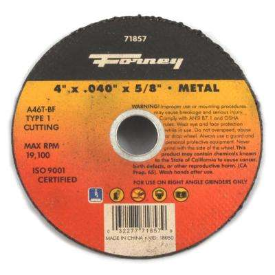 4 in. x 0.040 in. x 5/8 in. Metal Type 1 A46T-BF Cut-Off Wheel