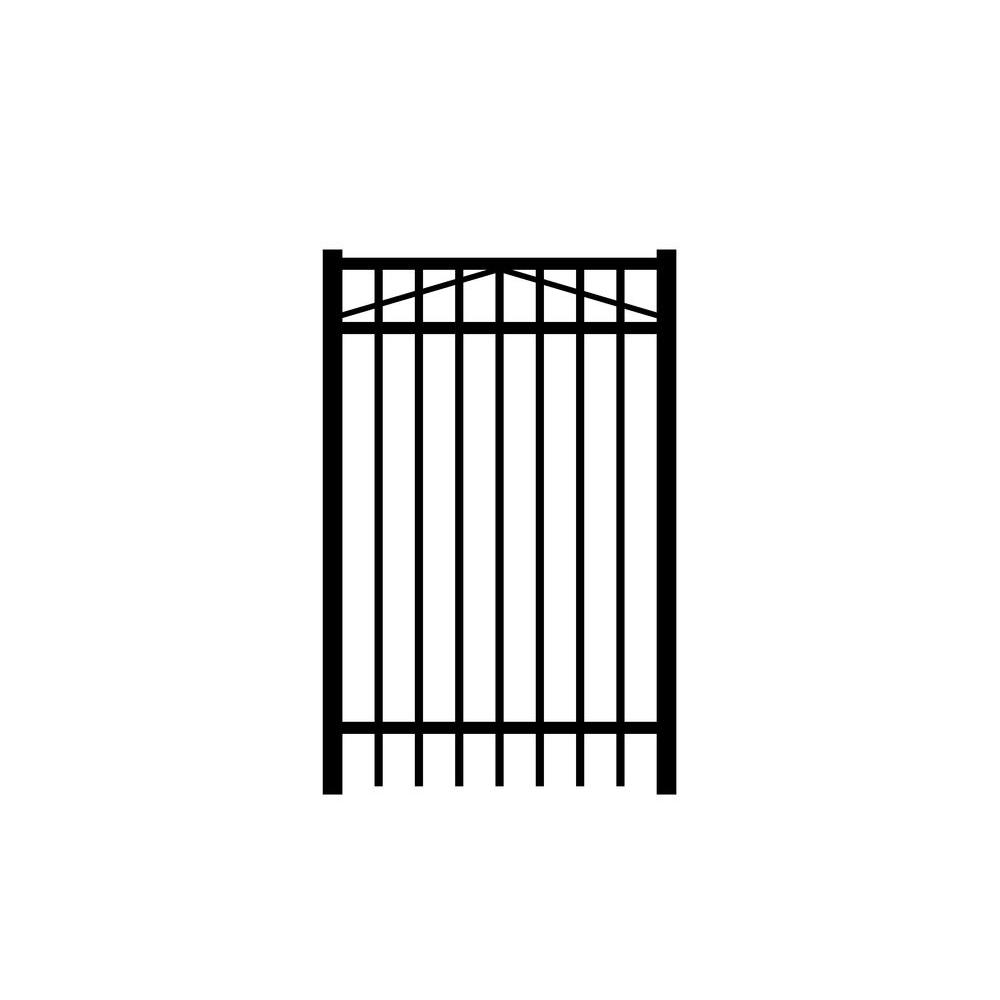 Jefferson 3 ft. W x 5 ft. H Black Aluminum 3-Rail