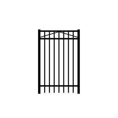 Jefferson 3 ft. W x 5 ft. H Black Aluminum 3-Rail Fence Gate