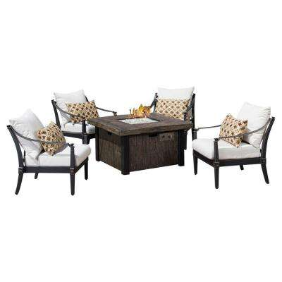 Astoria 5-Piece Fire Pit Chat Set with Moroccan Cream Cushions