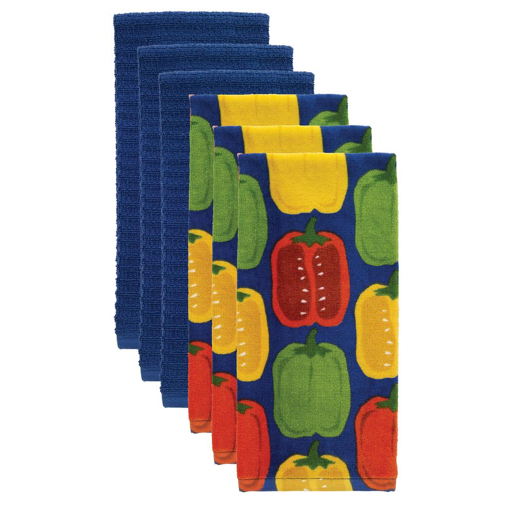 T-fal Peppers Multicolor Cotton Fiber Reactive Print and Solid Kitchen Dish Towel (Set of 6)