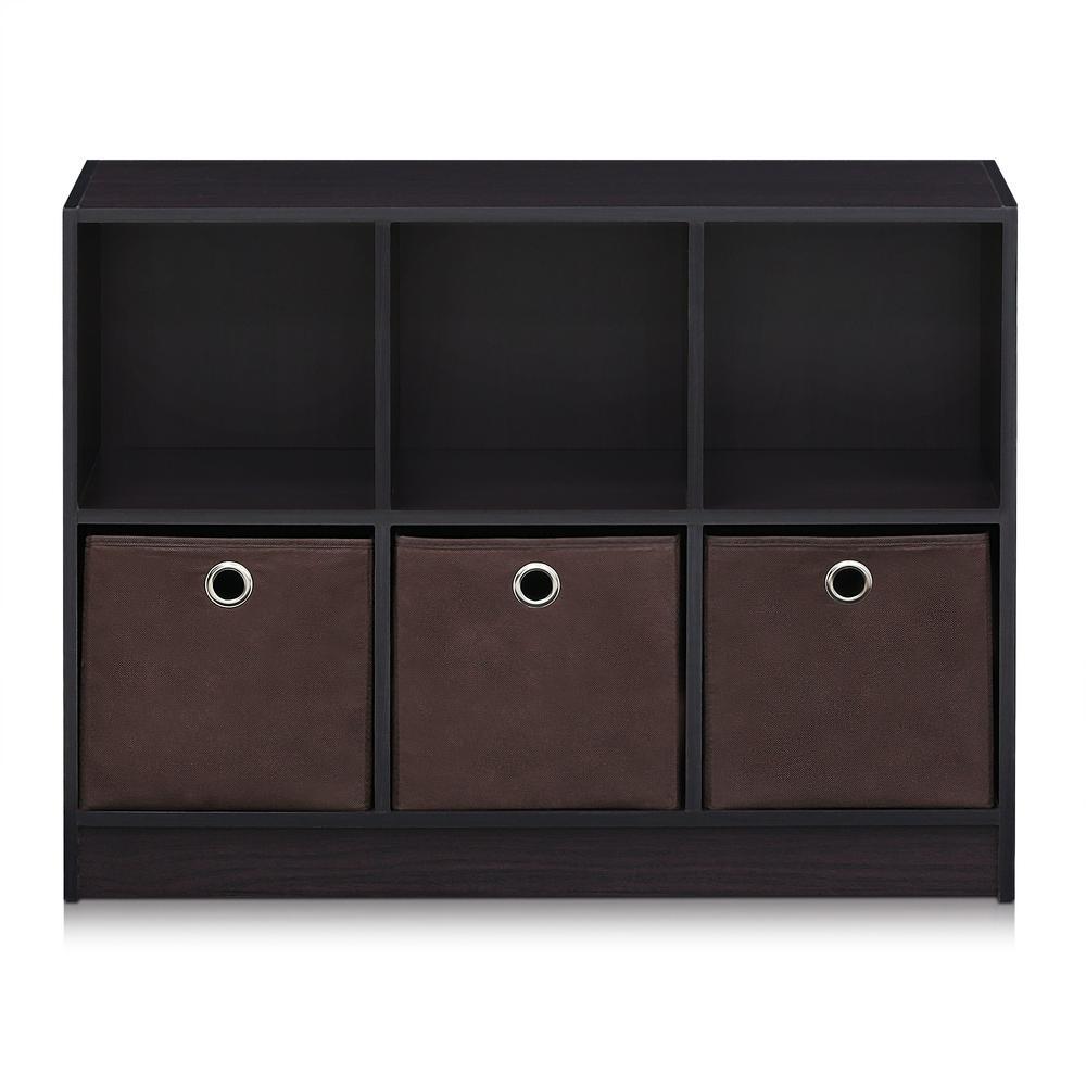 Oxford Cube Bookcase 2 Tier Shelf Display Wood Furniture Storage Unit Black