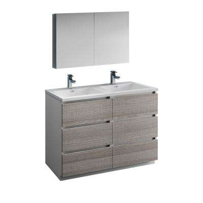 Lazzaro 48 in. Modern Double Bathroom Vanity in Glossy Ash Gray, Vanity Top in White with White Basins,Medicine Cabinet