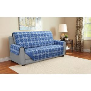1-Piece Plaid Blue Microfiber Relaxed Fit Sofa Furniture Protector