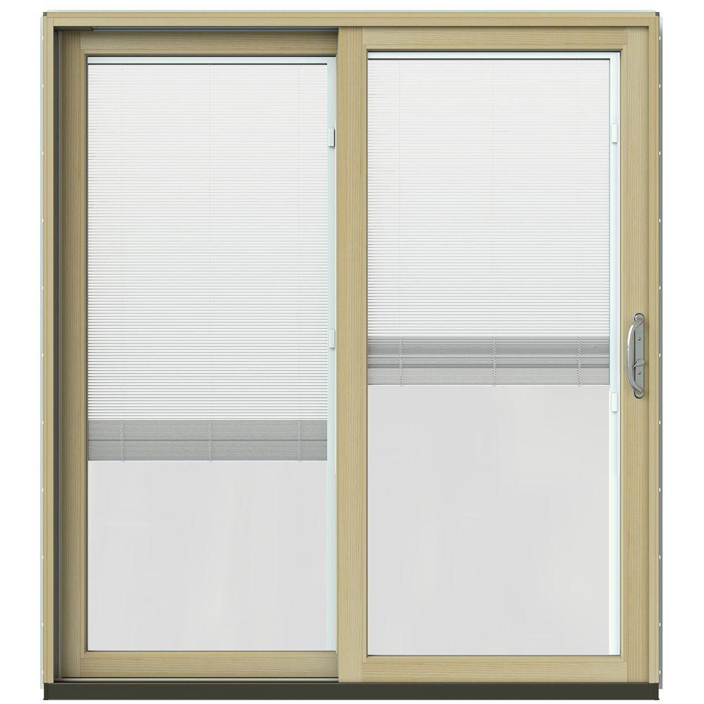 Jeld wen 71 1 4 in x 79 1 2 in w 2500 black prehung left for Prehung sliding glass doors