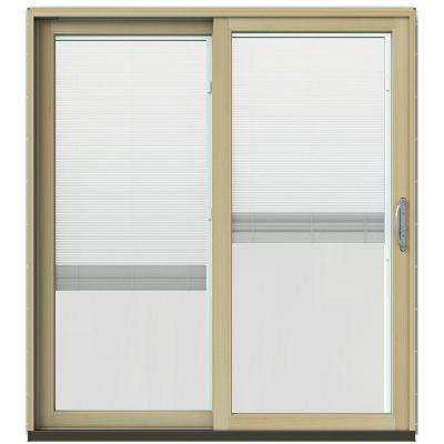 72 in. x 80 in. W-2500 Contemporary White Clad Wood Left-Hand Full Lite Sliding Patio Door w/Unfinished Interior