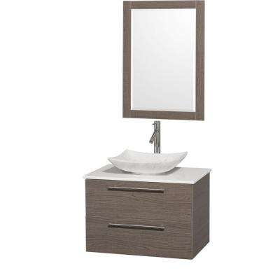 Amare 30 in. Vanity in Gray Oak with Solid-Surface Vanity Top in White, Marble Sink and 24 in. Mirror