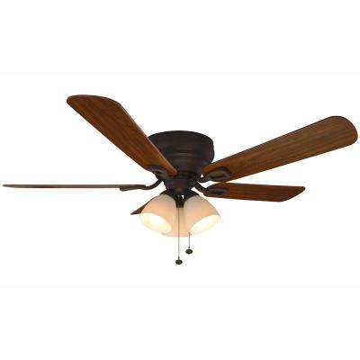 Hampton bay flush mount ceiling fans lighting the home depot led indoor oil rubbed bronze ceiling fan with light kit mozeypictures Choice Image