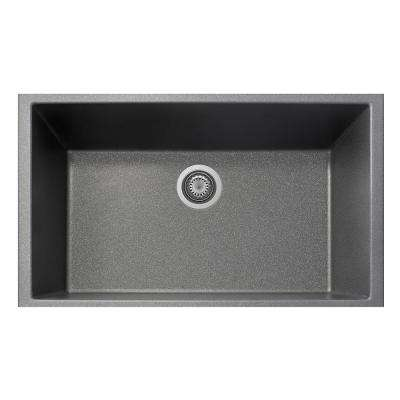 One Drop-in Granite Composite 22 in. 1-Hole Single Bowl Kitchen Sink in Titanium