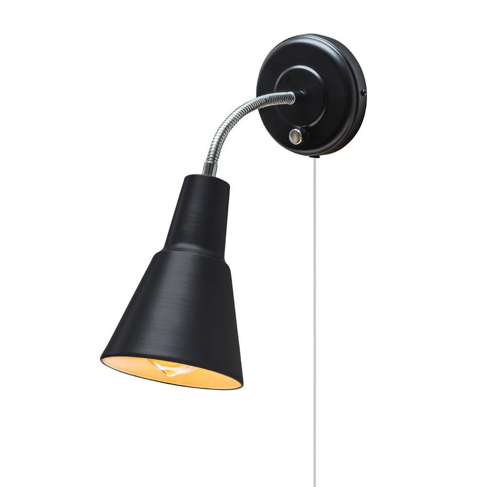 Ramezay 1-Light Matte Black Plug-In or Hardwire Task Wall Sconce Light