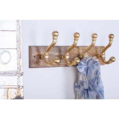 24 in. x 8 in. Classic Wood and Gold-Finished Aluminum Wall Hook