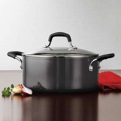 Gourmet 5 Qt. Nonstick Aluminum Dutch Oven with Lid in Charcoal Gray
