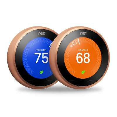 Nest Smart Learning Wi-Fi Programmable Thermostat, 3rd Gen, Copper (2-Pack)