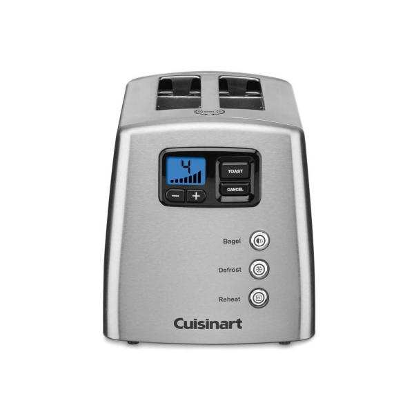 Cuisinart Touch To Toast 2 Slice Silver Wide Slot Toaster With Crumb Tray Cpt 420 The Home Depot