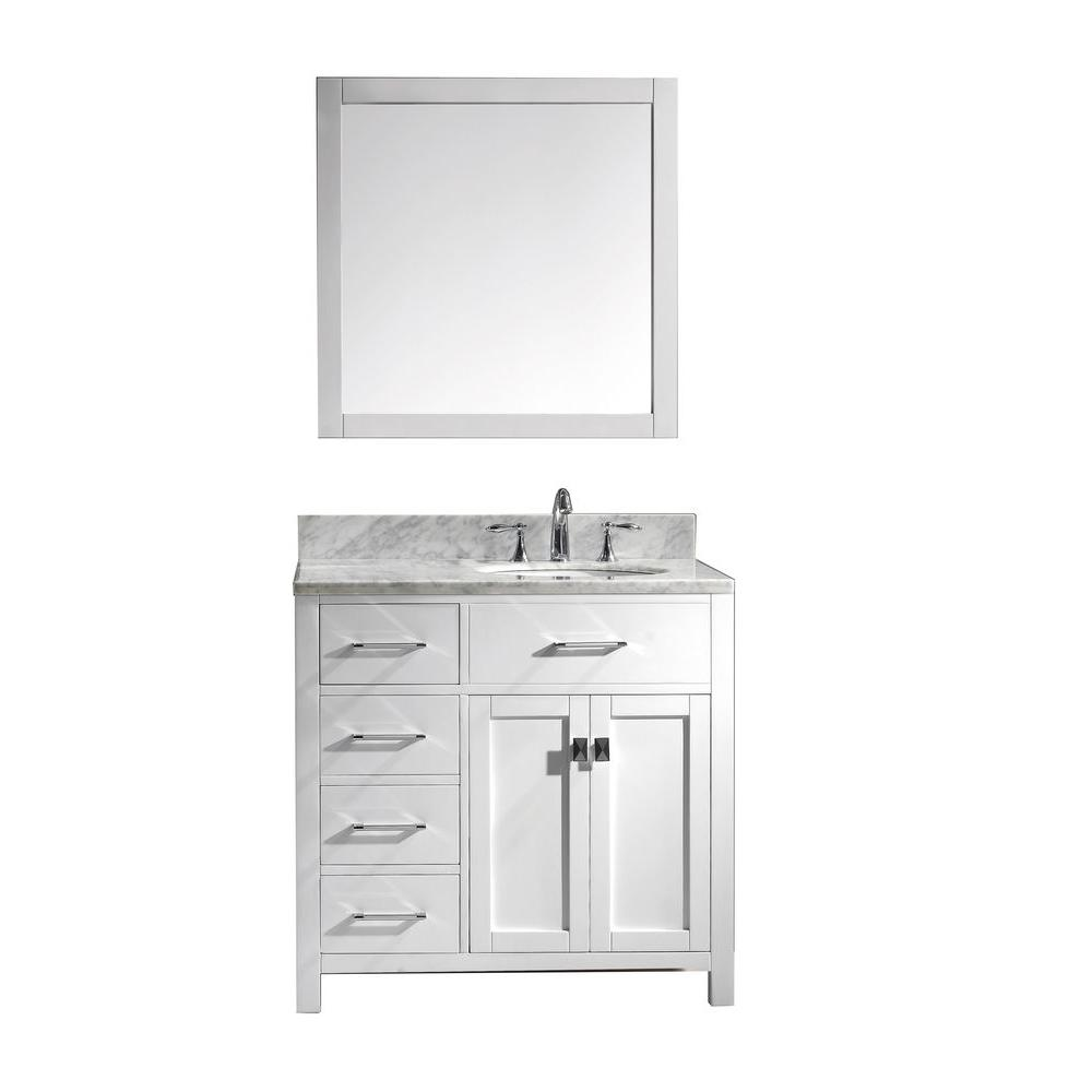 Virtu Usa Caroline Parkway 36 In W Bath Vanity In White With Marble