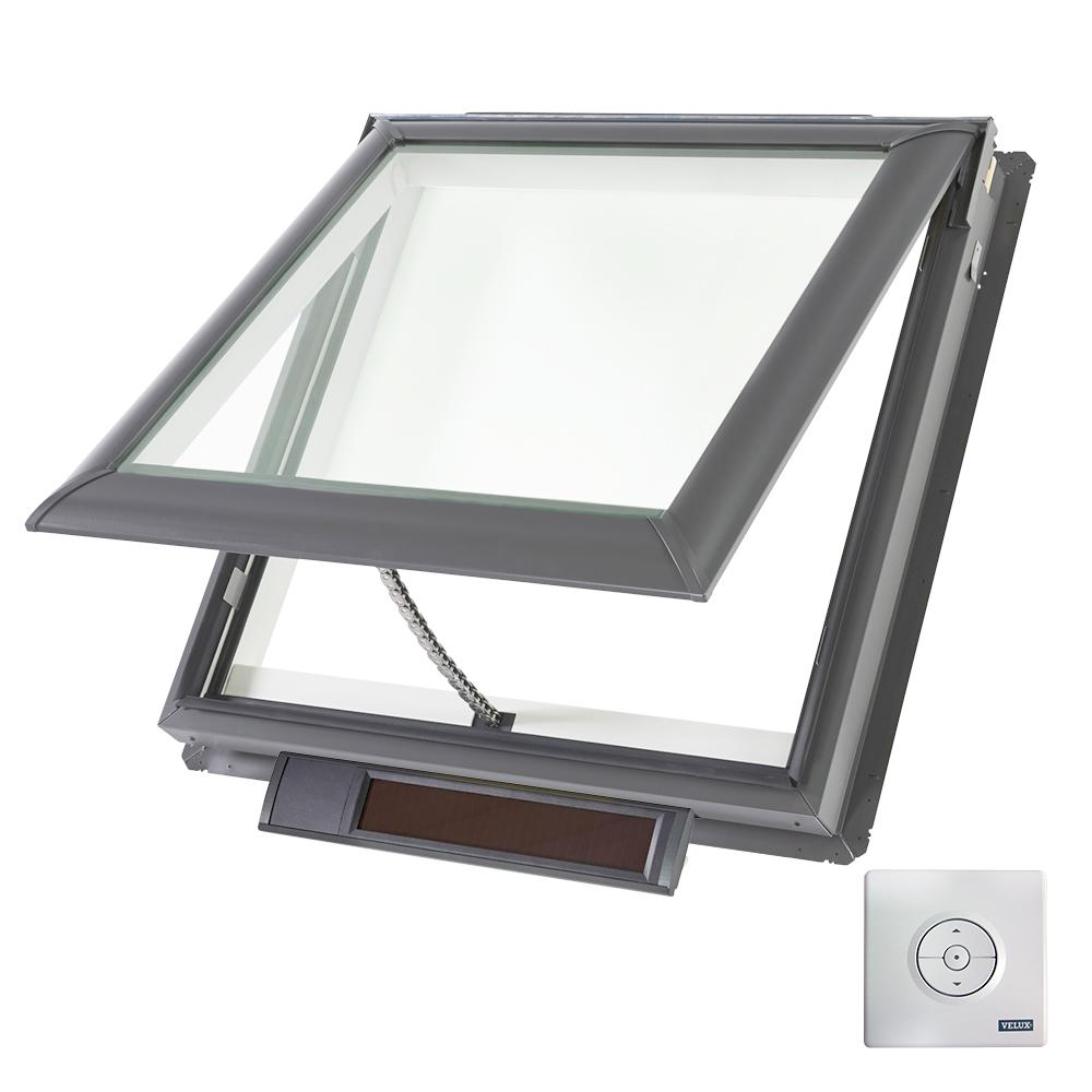 Velux 21 x 26 7 8 in solar powered fresh air venting deck for Velux solar powered blinds