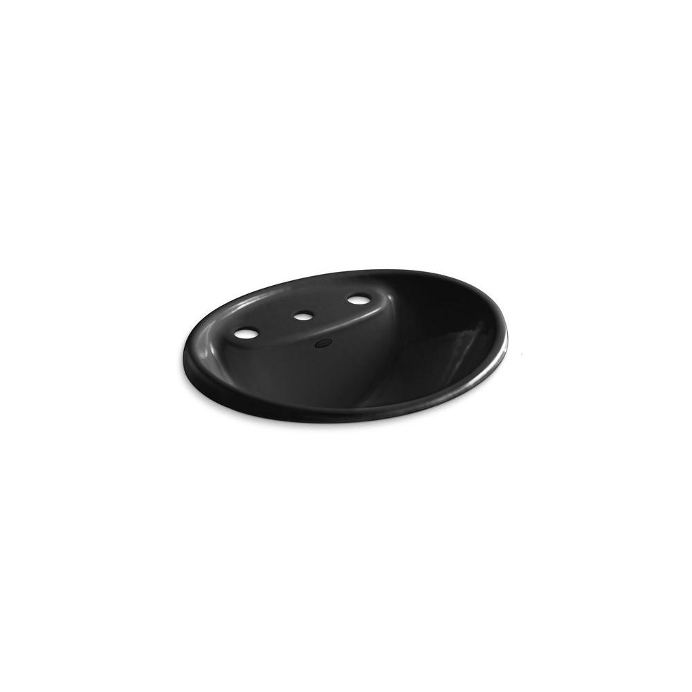 KOHLER Tides Drop-In Cast Iron Bathroom Sink with Center in Black Black with Overflow Drain