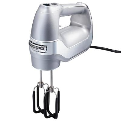 7-Speed Electric Hand Mixer, Silver and Chrome, with SoftScrape Beaters, Whisk, Dough Hooks and Snap-On Storage Case