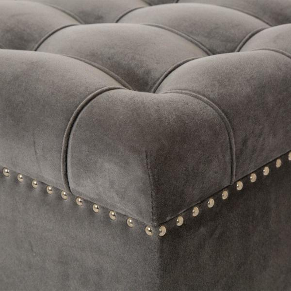 Glitzhome 44.88/'/' Acrylic Legs Padded Velvet Fabric Bench Seat Footstool Ottoman
