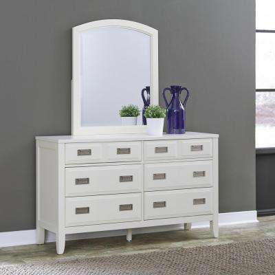 Newport 6-Drawer White Dresser with Mirror