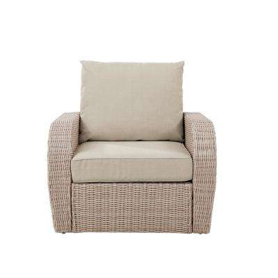 St Augustine Wicker Outdoor Patio Lounge Chair with Oatmeal Cushion