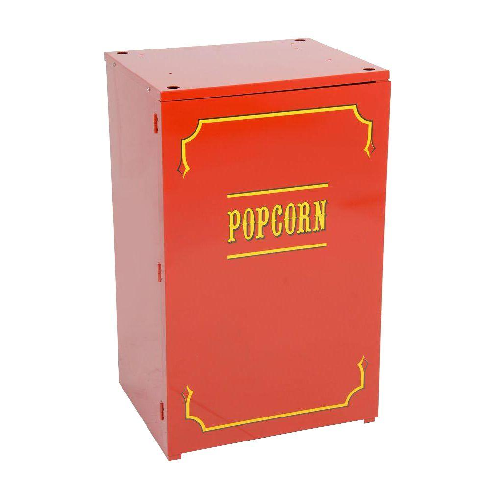 Paragon Premium 1911 Originals 6 and 8 oz. Popcorn Stand, Red/Powder Coat Stands provide easier access and better merchandising. The sturdy, all steel construction has a chip resistant coating. Also features convenient built-in storage space and breaks down easily for storage and transportation. This design results in a classic, elegant look that will enhance the most up-scale room, while maintaining the same high-end commercial quality in home use or commercial concession environments. Color: Red/ Powder Coat.