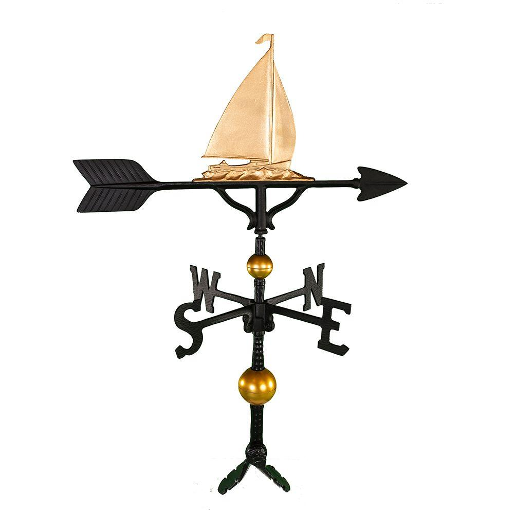 Montague Metal Products 32 in. Deluxe Gold Sailboat Weathervane Montague Metal Products hand crafted weathervanes are of the highest quality. These fully functional weathervanes are cast of rust free aluminum and finished with weather resistant paint to insure a lifetime of enjoyment. The standard adjustable clutch base makes installation quite easy. Flat bases and threaded masts are also available as an additional option.