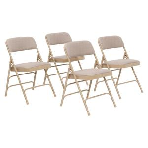 Beige Fabric Seat Stackable Folding Chair (Set of 4)