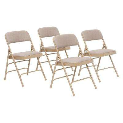 NPS 2300 Series Beige Fabric Upholstered Triple Brace Premium Folding Chair (Pack of 4)