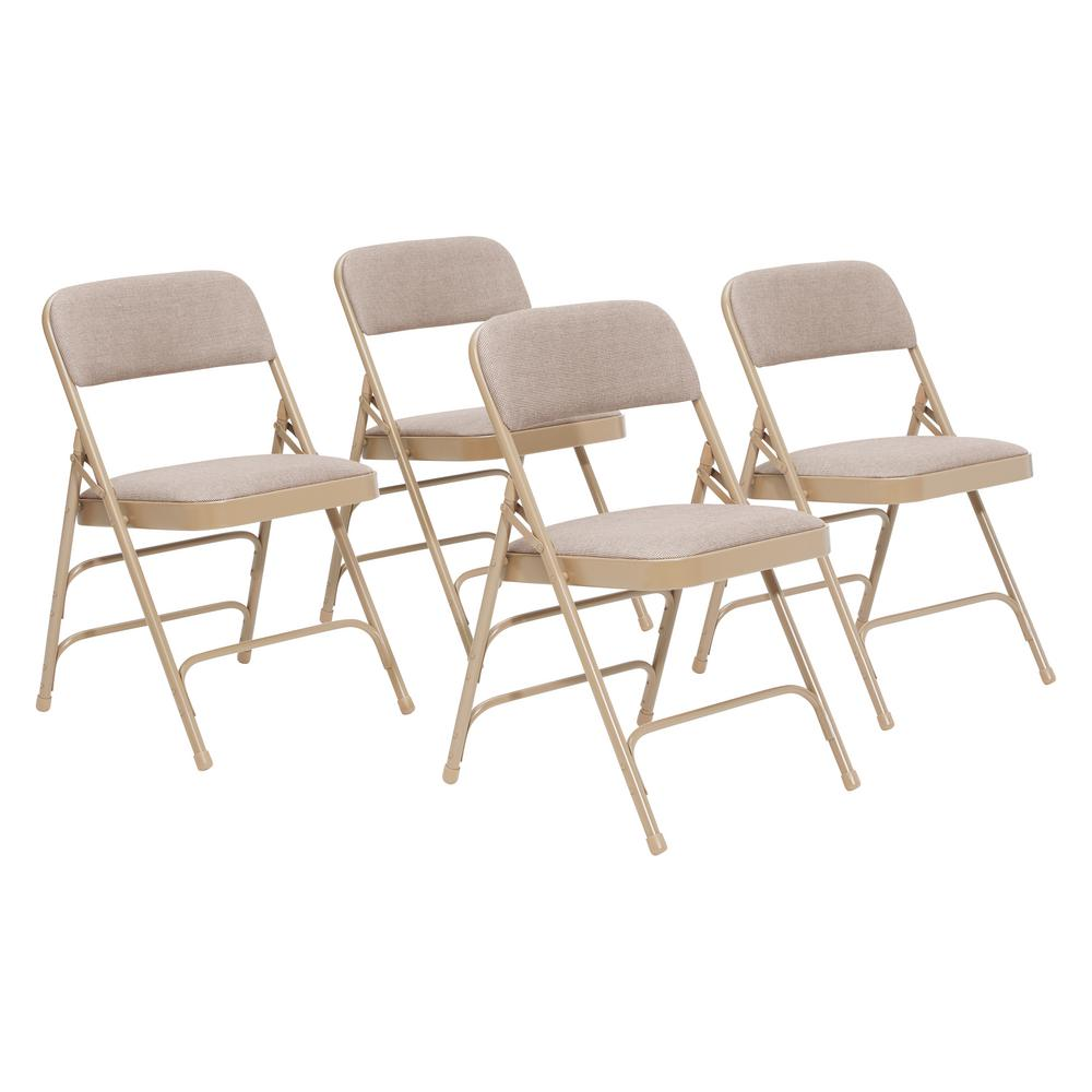 NPS 2300 Series Beige Fabric Upholstered Triple Brace Premium Folding Chair