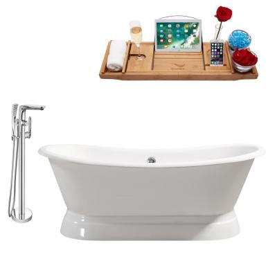 Tub, Faucet and Tray Set 71 in. Cast Iron Flatbottom Non-Whirlpool Bathtub in Glossy White