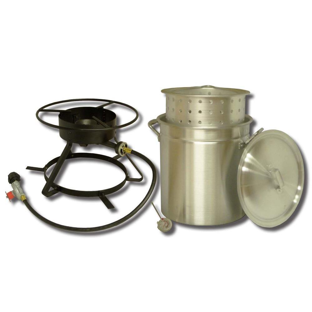 54,000 BTU Flat Top Propane Gas Outdoor Cooker with 50 qt. Aluminum Pot/Steamer Basket and Lid