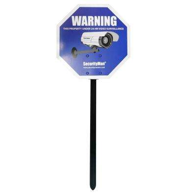 Reflective Security Warning Sign with Yard Stake