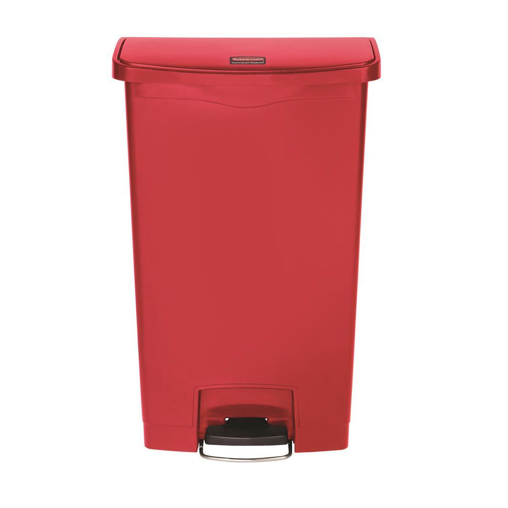 Slim Jim Step-On 18 Gal. Red Plastic End Step Trash Can