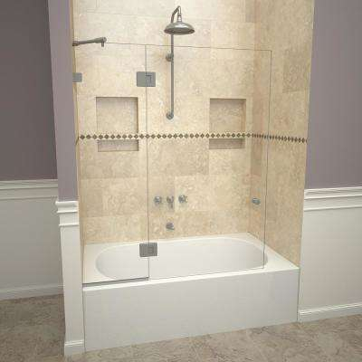 2000V Series 45 in. W x 60 in. H Semi-Frameless Fixed Tub Door with Swing Panel in Brushed Nickel and Clear Glass