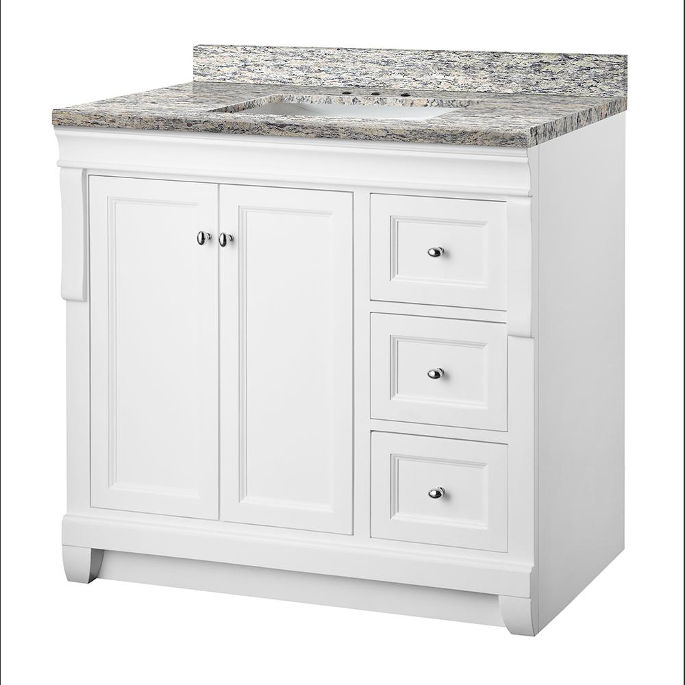 Home Decorators Collection Naples 37 in. W x 22 in. D Vanity in White with Granite Vanity Top in Santa Cecilia with White Sink