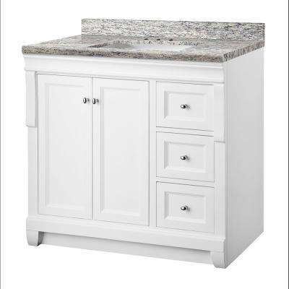 Naples 37 in. W x 22 in. D Vanity in White with Granite Vanity Top in Santa Cecilia with White Sink