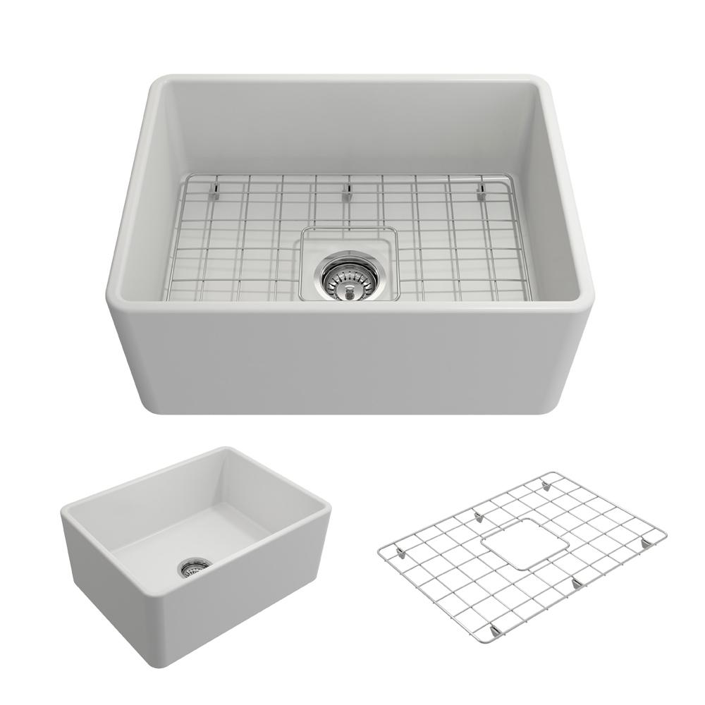Classico Farmhouse Apron Front Fireclay 24 in. Single Bowl Kitchen Sink
