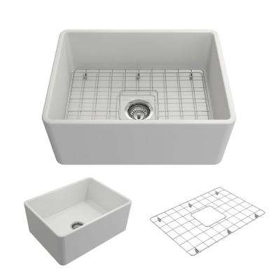Classico Farmhouse Apron Front Fireclay 24 in. Single Bowl Kitchen Sink with Bottom Grid and Strainer in Matte White