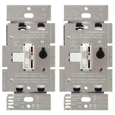 Toggler 150-Watt Single-Pole/3-Way CFL-LED Dimmer - White (2-Pack)
