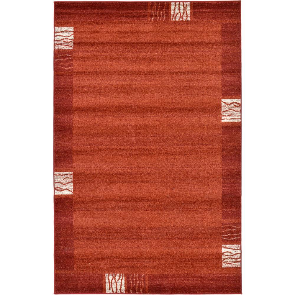 Del Mar Rust Red 5' x 8' Rug